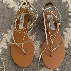 Steve Madden Walkitt Gold Snake Sandals 7.5